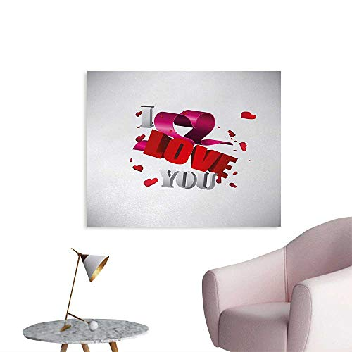 Tudouhoho I Love You Custom Poster 3D Design of Celebrating Words with Confetti Hearts and Ribbon Present Bow Mural Decoration Magenta Red Dust W36 xL24 -