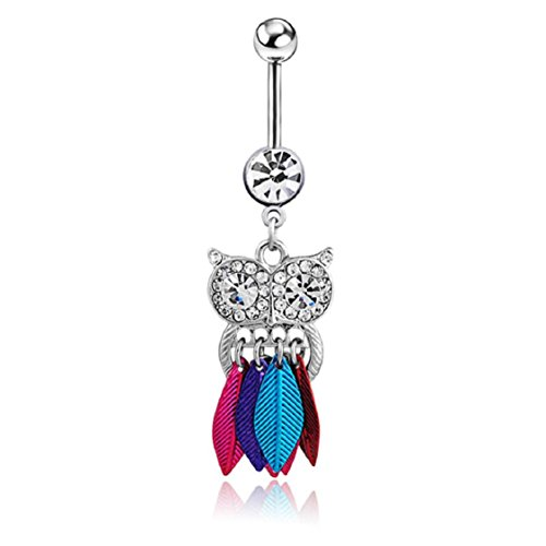 Crystal Belly Owl - Ikevan 2017 Hot Selling 1PC Crystal Owl Dangle Belly Button Bar Navel Ring Body Piercing Jewelry (Multicolor)