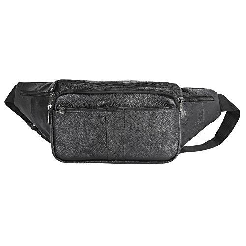 ZZNICK Large Size Genuine Leather Fanny Pack/Waist Bag/Organizer with Adjustable Belt,Multiple Pockets For Men (B)