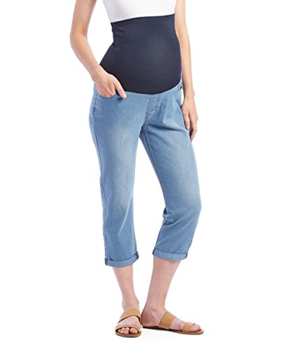 (RUMOR HAS IT Maternity Over The Belly Capri Crop Jeans (Power Wash, Medium))