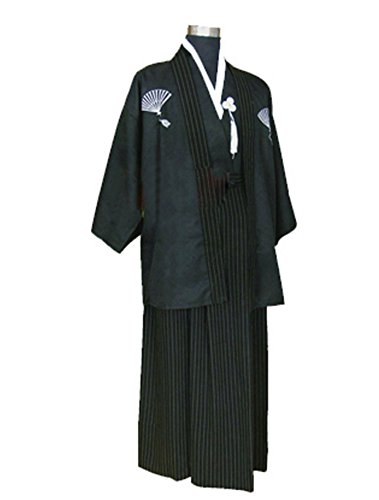 Original Sevens Costume Ideas (CRB Mens Boys Japanese Traditional Samurai Kimono Warrior Robe Outfit Costume (Child's Height 140cm, Black))