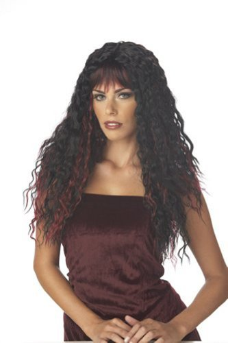 Black Temptress Costumes Wig (Fierce Black and Burgundy Wig for Halloween Costume)