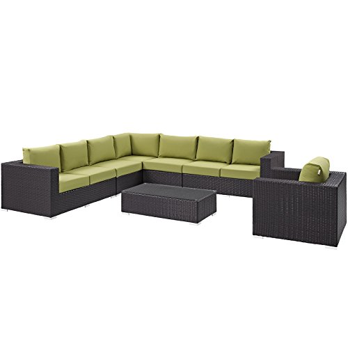Modway Convene Collection EEI-2162-EXP-PER-SET 7-Piece Outdoor Patio Sectional Set with Corner Section Left & Right Arm Loveseat 2 Armless Sections Coffee Table and Armchair in Espresso a