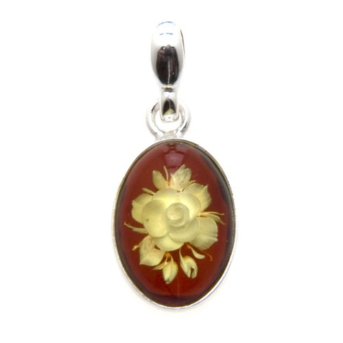 Amber Sterling Silver Oval Small Cameo Carving Rose Pendant
