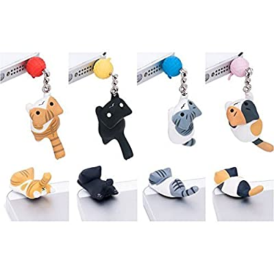 4 Pcs (Whole Set) Cheese Tabby Cat, Universal 3.5mm Anti Dust Earphone Jack Plug Cap for Iphone4/4s/5/6/6 Plus,ipod,ipad,htc,samsung S3 S4 S5 by CHOIZE