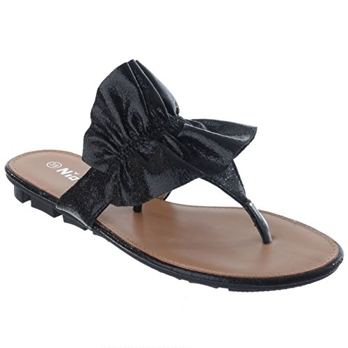 Summer Sandals Flat On New Slip Thong Miss Black Ladies Flip Size Flop Image Shoes UK Womens Frill xHqfAg