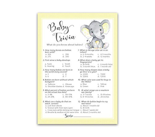 GENDER NEUTRAL Baby Shower Game - BABY TRIVIA Game - 25 Guests - YELLOW BABY ELEPHANT Fun Baby Facts Game, Yellow Polka Dot Elephant Trivia Gender Neutral Baby Shower Activity, YELLOW, SKU G521-TRV (Nursery Rhyme Baby Shower Game Answer Key)