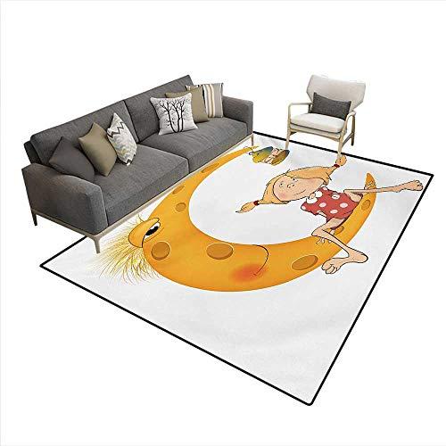 Floor Mat,Little Girl Sitting Barefoot Moon Eye Lamp Childhood Mystery Theme Cartoon,3D Printing Area Rug,Orange,5'x6' -
