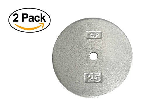 Standard Free Weight Plate, 1-Inch Standard Bars, 25-Pound in Gray, Set of 2 by CAP Barbell