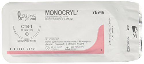 Monocryl Ethicon Sutures (Ethicon YB946 MONOCRYL Poliglecaprone Absorbable Suture for CTB-1 Needle, Single Armed, 36
