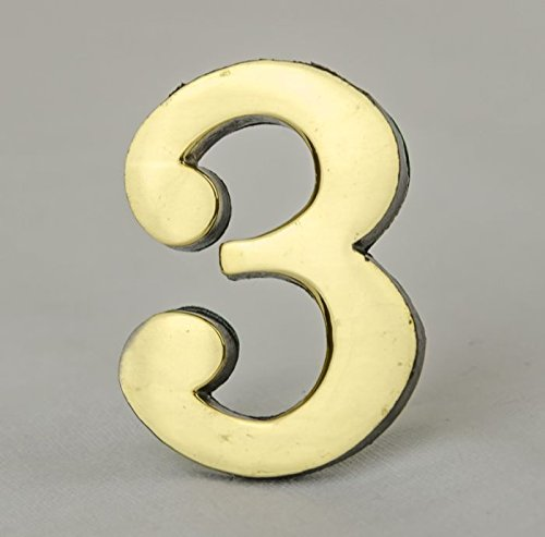 Address Number 3-2 Inch Solid Adhesive Brass Numbers for House, Door, Address Plaque, Mailbox | Satin Metallic Surfaces