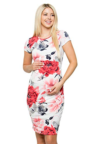 My Bump Women's Maternity Bodycon Causual Short Sleeve Mama Dress(Made in USA) (Large, Ivory/RED SKAJ)