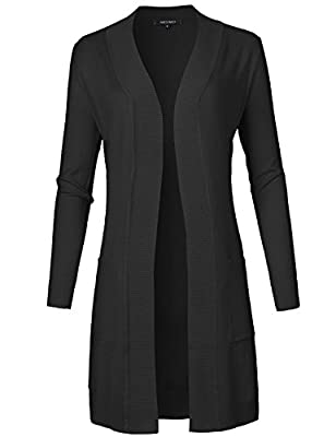 Awesome21 Women's Solid Soft Stretch Longline Long Sleeve Open Front Cardigan
