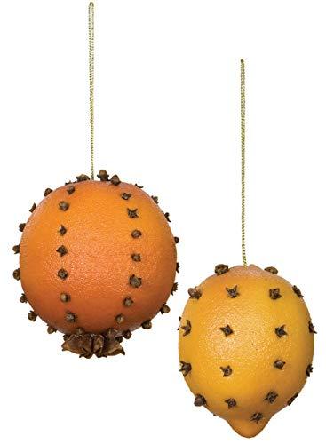 Sullivans Pomander, Orange, Lemon and Clove Christmas Ornaments, Set of 18 in 2 Styles, 2.25
