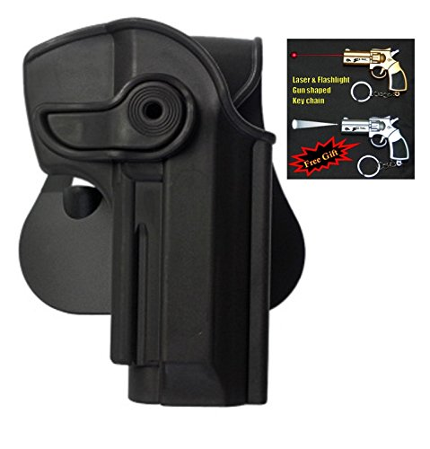 IMI-Z1250 - Polymer Retention Holster for Beretta 92/96, Llama 82 & Cheetah FS 85 + Laser & Flashlight Gun Shaped Key Chain. (Black)