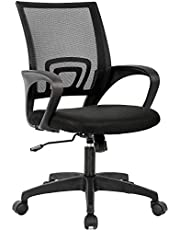 Home Office Chair Ergonomic Desk Chair Mesh Computer Chair with Lumbar Support Armrest Executive Rolling Swivel Adjustable Mid Back Task Chair for Women Adults, Black (Black)