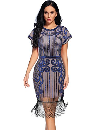 Flapper Girl Women's 1920s Vintage Inspired Sequin Embellished Fringe Gatsby Flapper Dress (XXL, Beige Blue)