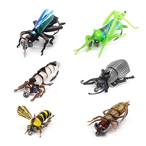 YZD Fly Fishing Flies Trout Lure kit Dry Wet Fly-Fishing Flies Set of 6 Flies Realistic Terrestrial Bumble Wasp Grasshopper Stone Flies Mayfly Stonefly Brook Trout
