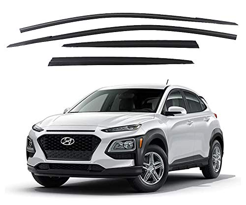 Safe Smoke Window Visor Sun Rain Vent Guard 4 Pcs Set for 2018~ Hyundai KONA Out Channel Visor ()