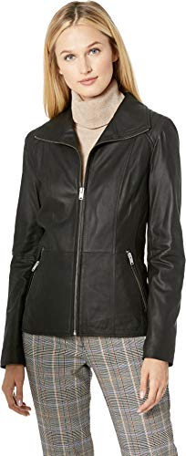 Marc New York by Andrew Marc Women's Fabian Glove Lamb Wing Collar Jacket Black ()