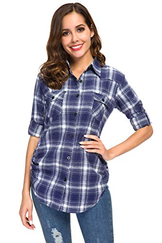 Women's Roll up Long Sleeve Boyfriend Button Down Plaid Flannel Shirt, Casual Checkered Tartan Cuffed Collared Blouse Tops, Navy, US Size Large