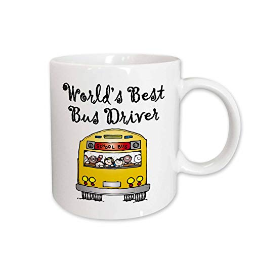 3dRose 193351_1 Worlds Best Bus Driver Ceramic Mug, 11 oz, White