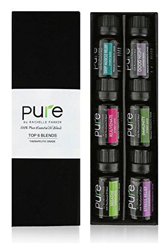 PURE Essential Oil Blends.Gift pack 6 Synergy Blend Set. Synergy Essential Oil Blend Beginner Starter Set Includes Good Night, Muscle Relief,Rejuvenate, Immunity, Breath & Stress Relief Oil Blends