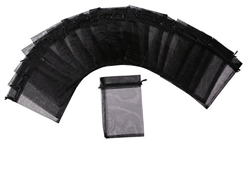 MISSSIXTY 5 x 7 Inch Sheer Organza Gift Bags Black Pack of 50 -