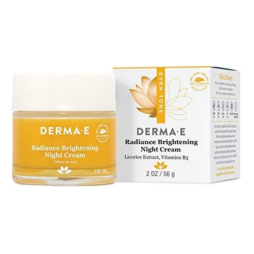 DERMA E Even Tone Brightening Night Cream with Vitamin C Nighttime Moisturizer, 2 oz