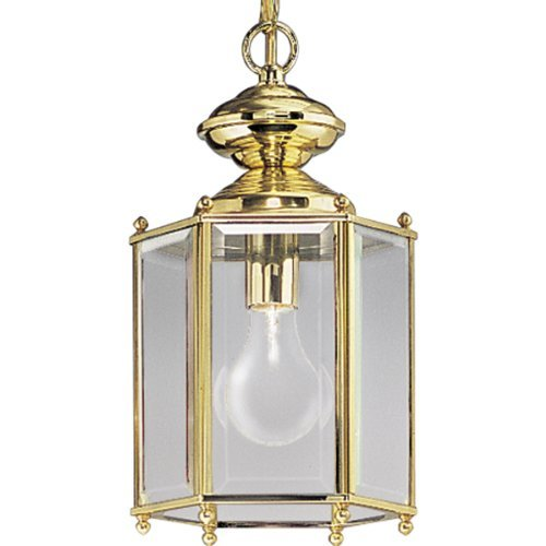 (Progress Lighting P5834-10 Hexagonal Lantern with Beveled Glass Chain and Ceiling Mounts Both Included, Polished Brass by Progress Lighting)