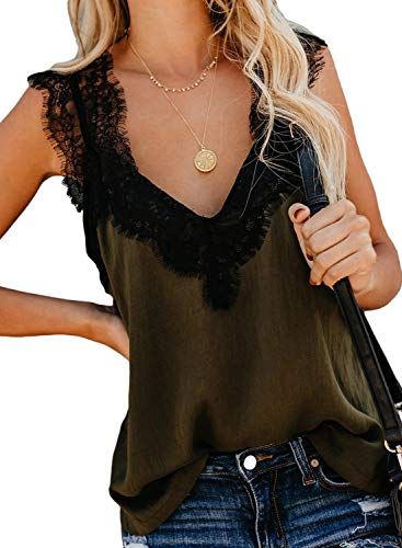 CILKOO WomensAmazonFashionLadiesCasualSummerSpaghettiStrapLace StrappySolidPrintCamiTankTopwithLaceTrimBlouseShirts Green US4-6 Small
