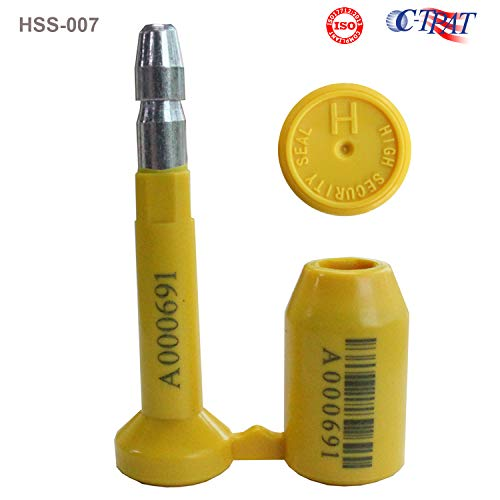 10pcs ISO and C-TPAT Certified High Security Bolt Seals for Container, Railway, Trailer, Truck, and Wagon Door Latches (Model HSS-007, Yellow, Unique Barcodes - TamperSeals)