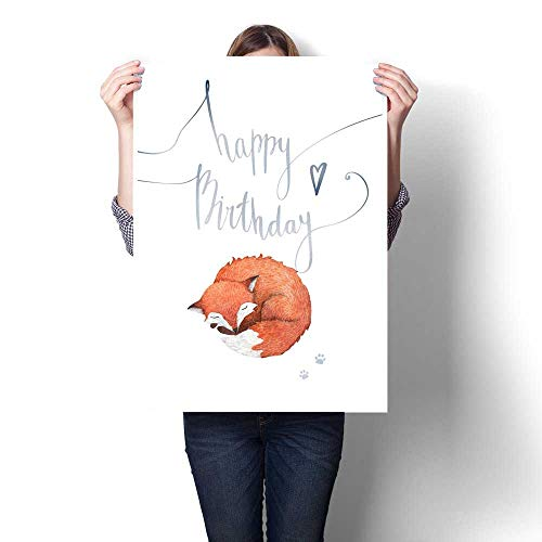 Hanging painting Watercolor birthday card with hand lettering a little sleeping fox and its footprints Handwritten invitation card isolated on white background Ready to Hang for Home Decorations Wall ()