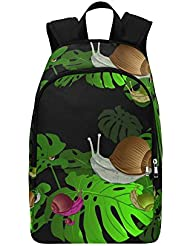 Happy More Custom Snail On A Flower Monstera Travel School Shoulder Fabric Backpack