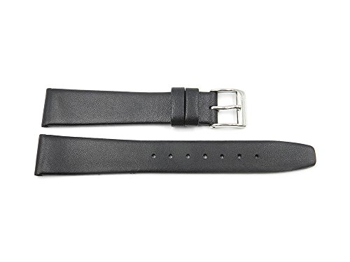 17mm Black Genuine Leather Movado Style Smooth Watch Band -  Toscana, TOS-USS/009-BLK-17