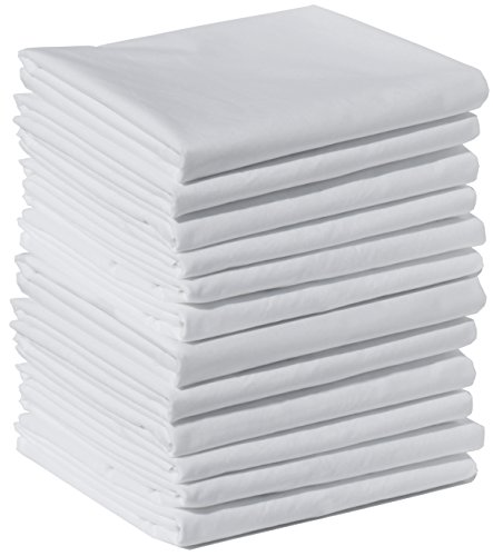 12 Dozen Case - Polycotton Bulk Pack of 12 Standard Size Pillowcases, White, 200 Thread Count, 21