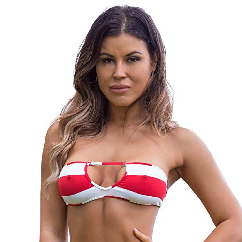 (Wicked Weasel Sailor Stripe Bandeau Bikini Top 351 (Large, Red))
