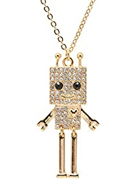 Gold Plated Smiling Square Robot with Antenna Strand Necklace
