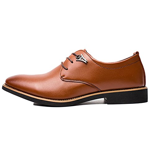 Cuir Yellow Robes up Derby Business Office D'homme Lace en Noir Chaussures Souliers Tips Homme D'homme Simple Souliers OwaEE4