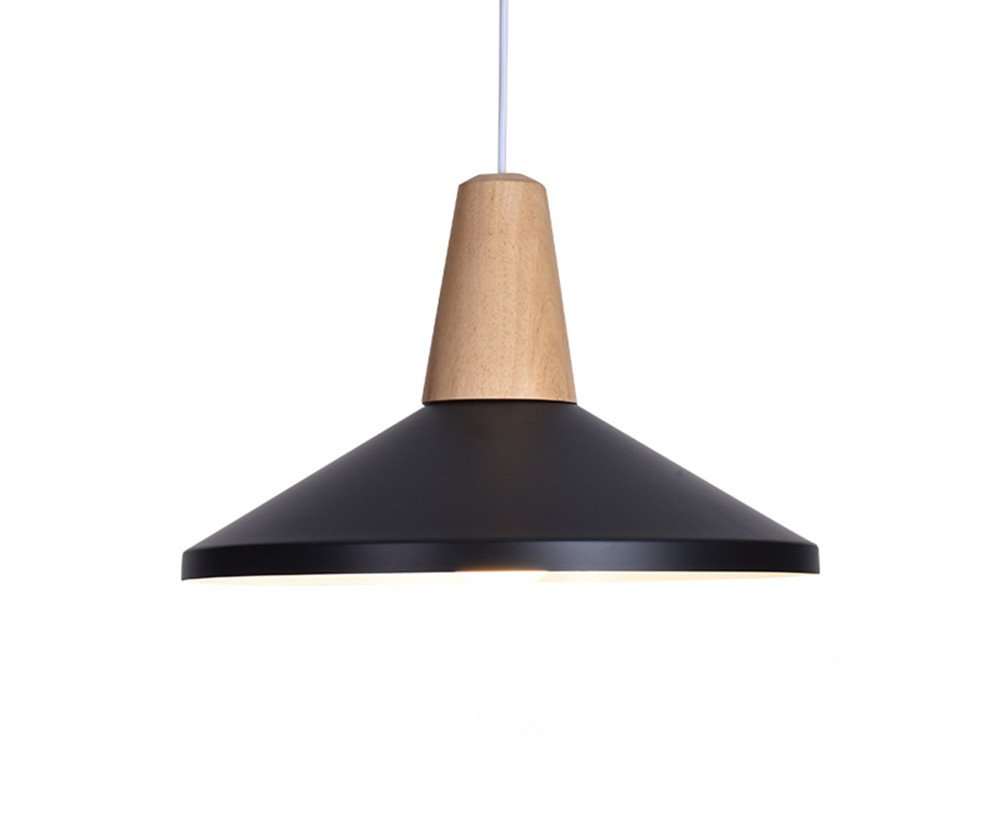 BOKT 60W Edison Lights Modern Industrial Pendant Lamp Colorful Hanging Chandelier Shade Light E26/E27 Base Painted Finish Solid Wood Series Single Head (B-Black)