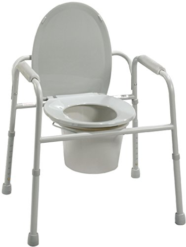 All In One Steel Commode (Drive Medical deluxe all in one welded steel commode with plastic armrests, deeper seat depth assembled - 1 ea, 11105N)