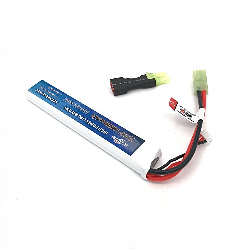 Airsoft Battery 7.4V Lipo for AEG Airsoft Air Guns with Mini Tamiya Connector Stick Type w/Conversion Adapter M4 AK Types by Air Curve