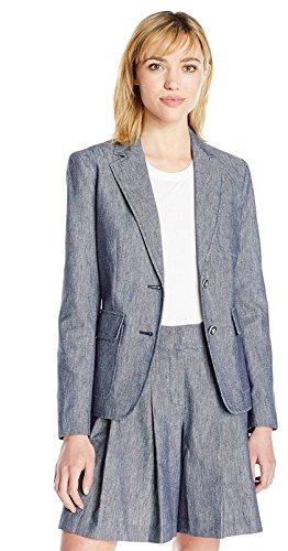 Nine West Women's 2 Button Linen Jacket with Pockets, Navy, - Women Linen Blazer