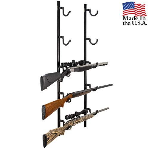 - Hold Up Displays USA Made Gun Rack Rifle Shotgun Hanger and Fishing Rod Pole Rack - Black Vein