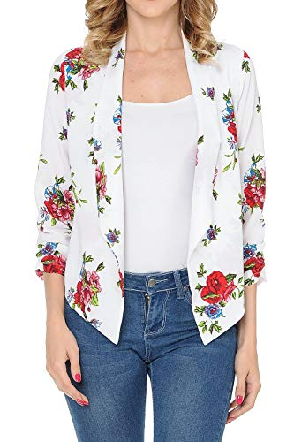 Auliné Collection Womens Floral Casual Lightweight 3/4 Sleeve Fitted Open Blazer Floral Print 32 Large