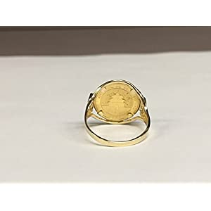 14 Kt Solid Yellow Gold Coin Ring 24 Kt Chinese Panda Bear Coin (1502(Random Year Coin)