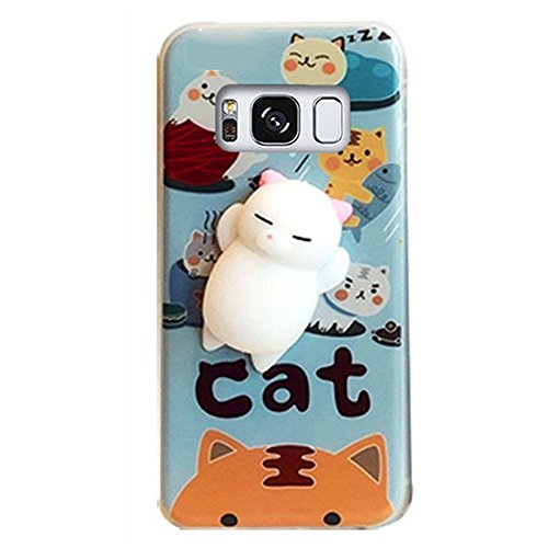 Cover Animal - DStores Squishy Cat Case for Galaxy S5, Cute Squeeze Stretch Compress Slow Rising Healing Stress Reduce Soft Silicone 3D Cat Back TPU Cover for Samsung Galaxy S5 (Type B)
