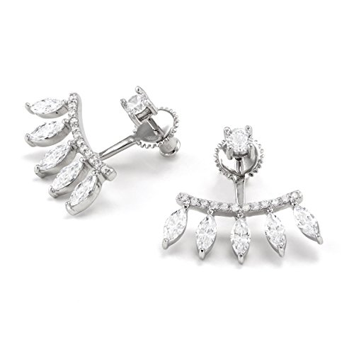 Platinum Plated 925 Sterling Silver Round Cubic Zirconia Curved Bar 5 Leaf Baguette Earring Jackets by Joy and Rachel