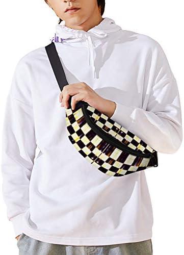 黒と白のチェッカーボード ウエストバッグ ショルダーバッグチェストバッグ ヒップバッグ 多機能 防水 軽量 スポーツアウトドアクロスボディバッグユニセックスピクニック小旅行
