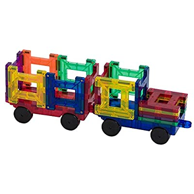 Playmags 20 Piece Train Set: Now with Stronger Magnets, Sturdy, Super Durable with Vivid Clear Color Tiles: Toys & Games